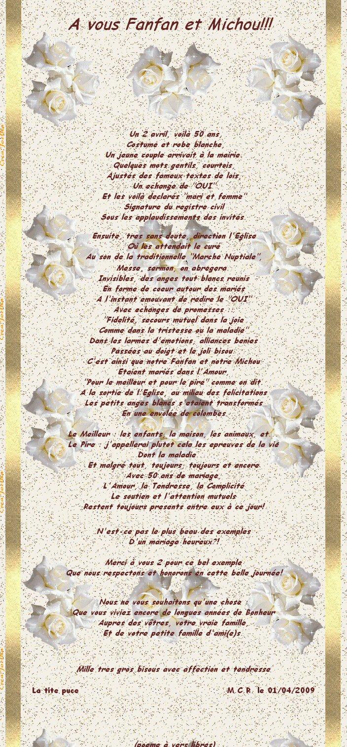 poeme - Noce 50 Ans De Mariage